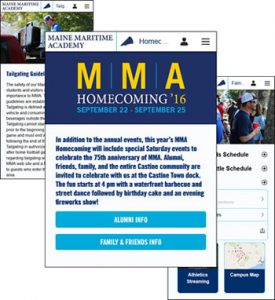 Homecoming in mobile app
