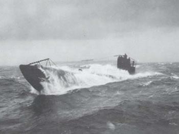 German U-Boat surfacing