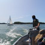Looking at sailboat in bay